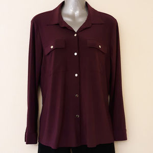 NY Collection Purple Button Down Blouse